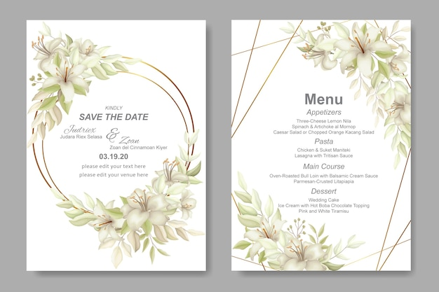 Eleganckie piękne miękkie zaproszenie na ślub i kwiatowy