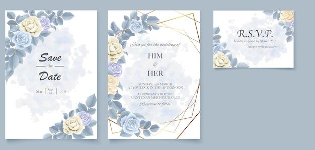 Eleganckie piękne miękkie zaproszenie na ślub w kwiaty i liście