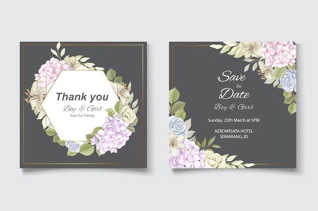 Eleganckie piękne zaproszenie na ślub i kwiatowy