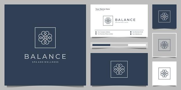 Eleganckie piękno róży kwiatowej, joga i spa. projekt logo i wizytówki