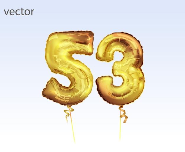 Eleganckie pozdrowienie obchody pięćdziesiąt trzy lata urodzin. złoty balon foliowy numer 53 rocznica. wszystkiego najlepszego, plakat z gratulacjami. 53 złoty balon foliowy