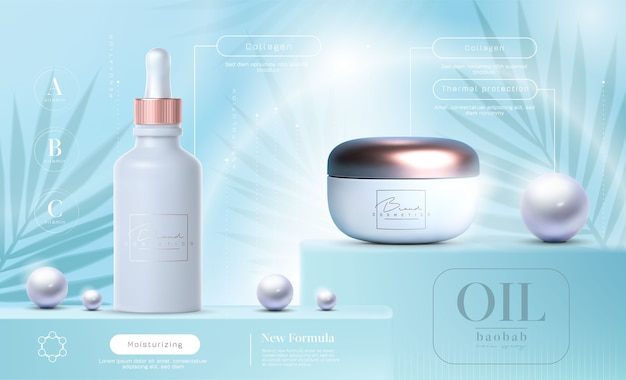 Eleganckie produkty kosmetyczne ustawić tło