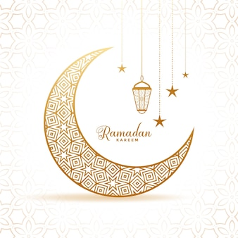 Eleganckie ramadan kareem ozdobny księżyc i lampiony na powitanie