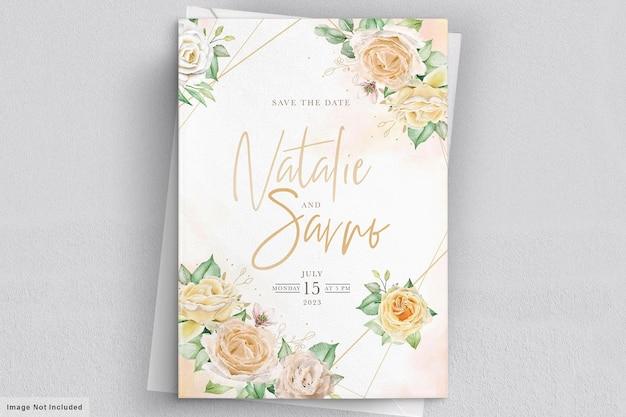 Eleganckie ręcznie rysowane akwarela kwiatowy zaproszenie na ślub