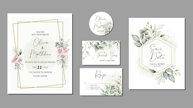 Eleganckie ręcznie rysowane akwarela zaproszenie na ślub kwiatowy