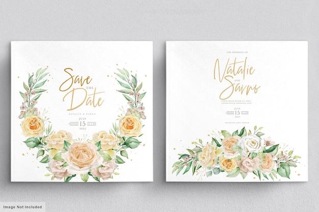 Eleganckie ręcznie rysowane akwarele wieńce kwiatowe i bukiety zestaw