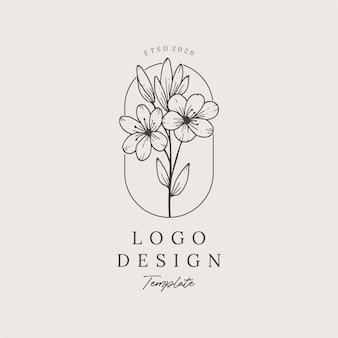 Eleganckie ręcznie rysowane kwiatowy logo szablon projektu premium