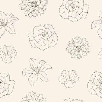 Eleganckie ręcznie rysowane kwiatowy tło