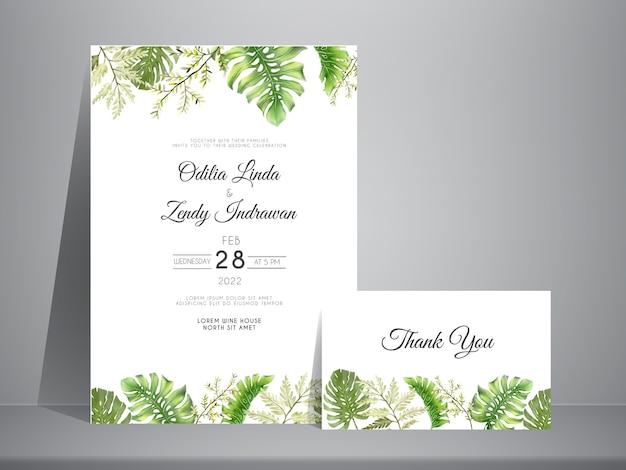 Eleganckie ręcznie rysowane liście szablon zaproszenia ślubne