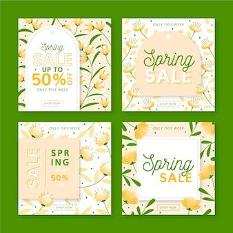 Eleganckie ręcznie rysowane posty na instagramie z botaniczną wiosenną wyprzedażą