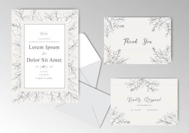 Eleganckie ręcznie rysowane szablon zaproszenia ślubne z pięknymi liśćmi