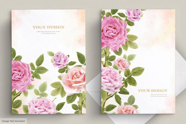 Eleganckie ręcznie rysowane zestaw kart zaproszenie lilia