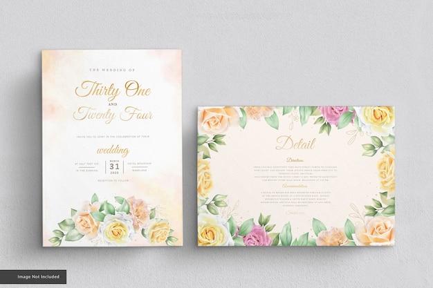Eleganckie róże zestaw kart zaproszenie