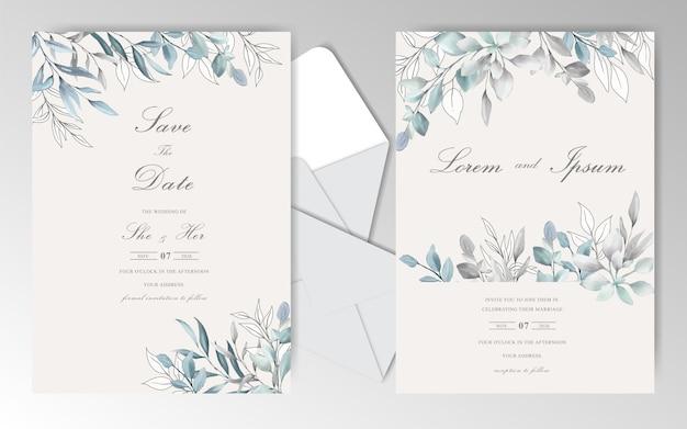 Eleganckie ślubne akwarela stacjonarne z pięknymi liśćmi