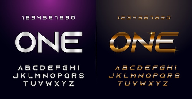 Eleganckie srebrne i złote kolorowe metalowe chromowane litery alfabetu i zestaw liczb