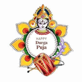 Eleganckie szczęśliwe tło karty festiwalu indyjskiego durga pooja