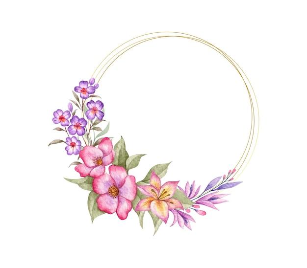 Eleganckie szczęśliwe walentynki stylowe kwiatowy rama ze złotym pierścieniem
