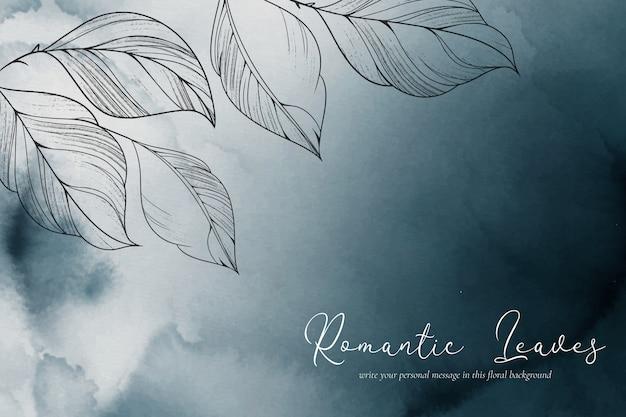 Eleganckie tło akwarela z romantycznymi liśćmi