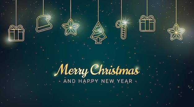 Eleganckie tło bożonarodzeniowe ze złotymi elementami świątecznymi