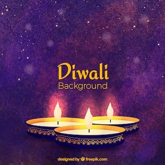 Eleganckie tło diwali ze świecami