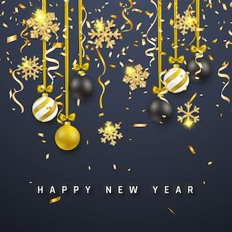 Eleganckie tło nowego roku ze złotymi i czarnymi bombkami, świecący blask świecący złoty płatek śniegu.