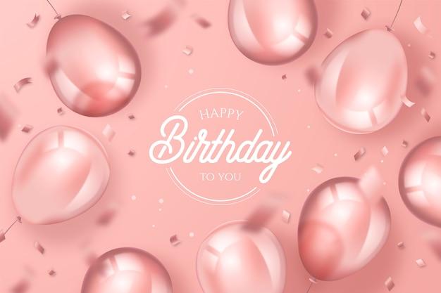 Eleganckie tło urodziny z realistycznymi balonami