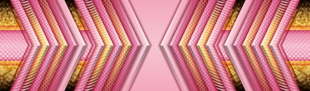 Eleganckie tło z różowym i fioletowym papierem i złotą lekką dekoracją