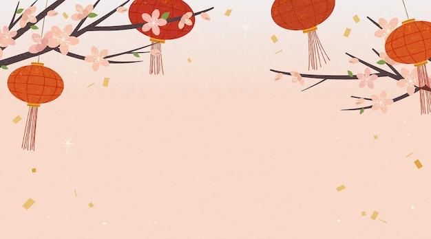 Eleganckie tło z wiszącymi czerwonymi lampionami i kwiatami wiśni