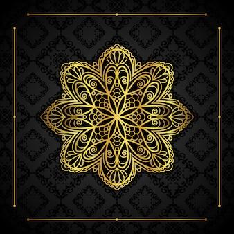 Eleganckie tło z złotym obramowaniem i mandali