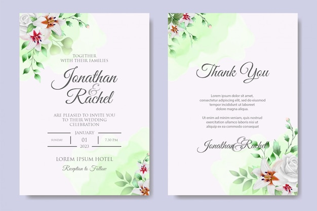 Eleganckie wesele kwiatowy zaproszenie
