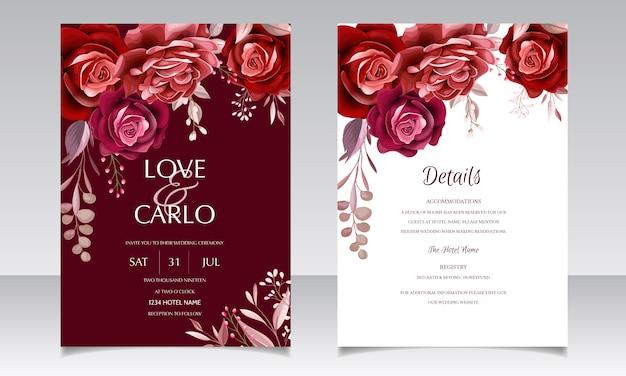 Eleganckie wesele zaproszenie szablon karty z bordowym kwiat róży i liści