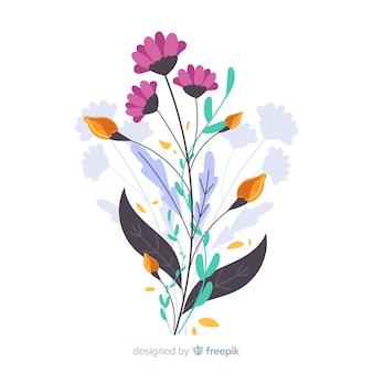 Eleganckie wiosenne kwiaty w płaskiej konstrukcji