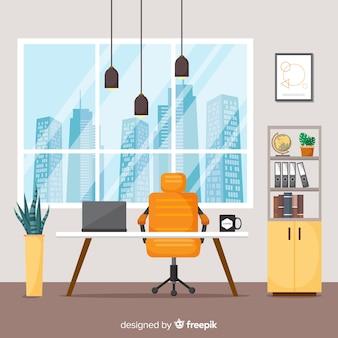 Eleganckie wnętrze biura o płaskiej konstrukcji