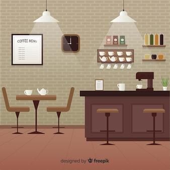 Eleganckie wnętrze kawiarni o płaskiej konstrukcji