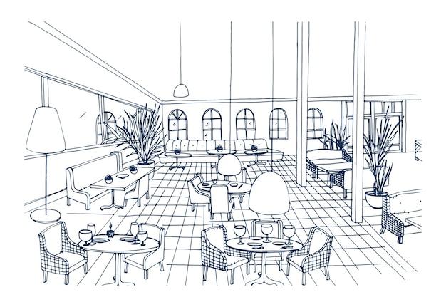 Eleganckie wnętrze restauracji lub kawiarni z podłogą w kratkę i stylowymi meblami ręcznie rysowanymi na czarno