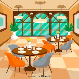 Eleganckie wnętrze restauracji o płaskiej konstrukcji