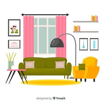 Eleganckie wnętrze salonu o płaskiej konstrukcji