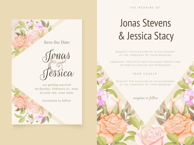 Eleganckie zaproszenia ślubne kwiatowy szablon