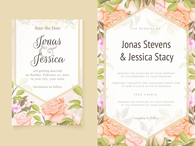 Eleganckie zaproszenia ślubne kwiatowy szablony z kwiatami i liśćmi