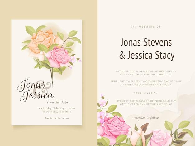 Eleganckie zaproszenia ślubne kwiatowy wzór szablonów