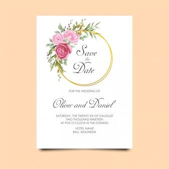 Eleganckie zaproszenia ślubne z kwiatami w stylu przypominającym akwarele i zielonymi liśćmi