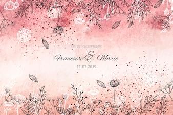 Eleganckie zaproszenie na ślub z złote tło