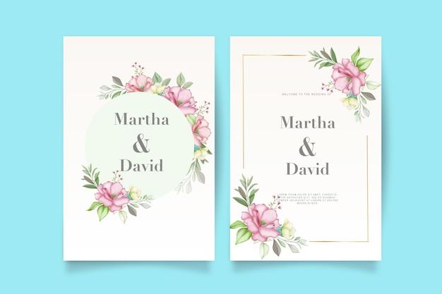 Eleganckie zaproszenie na ślub akwarela z kwiatem i liśćmi