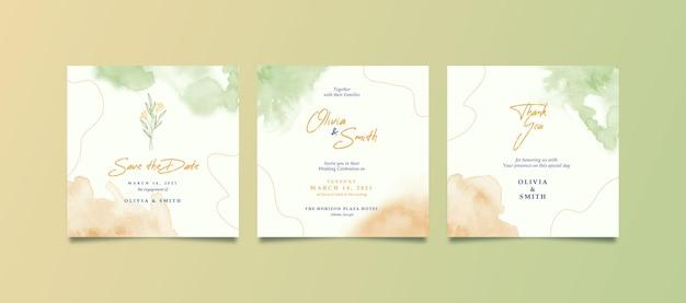 Eleganckie zaproszenie na ślub kwadratowy akwarela
