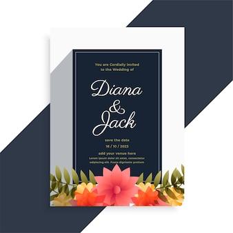 Eleganckie zaproszenie na ślub kwiatowy ozdobny projekt karty