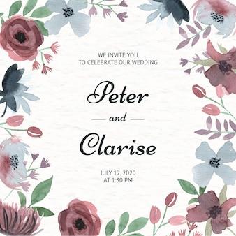 Eleganckie zaproszenie na ślub kwiatowy w akwareli