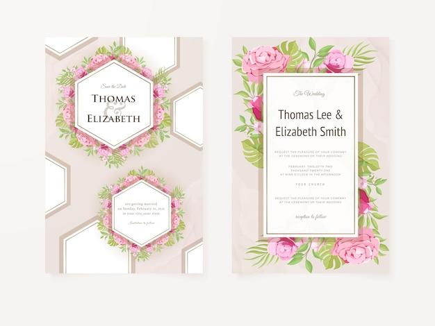 Eleganckie zaproszenie na ślub kwiatowy wzór