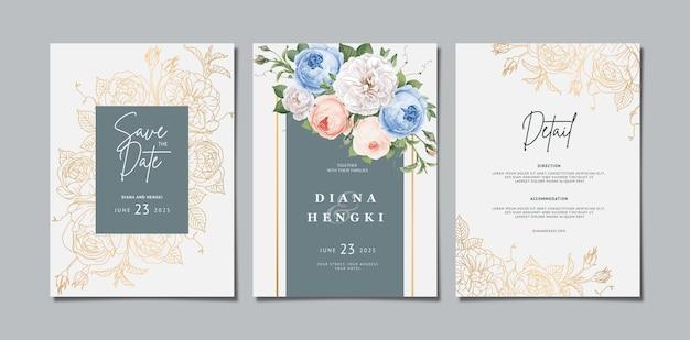 Eleganckie zaproszenie na ślub kwiatowy ze złotą linią
