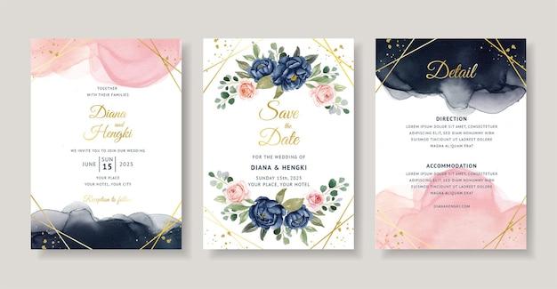 Eleganckie zaproszenie na ślub w kolorze granatowo-brzoskwiniowym