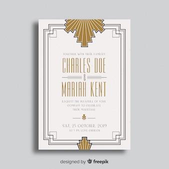 Eleganckie zaproszenie na ślub w stylu art deco
